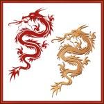 sada draků - symbol orientální kultury — Stock vektor