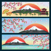 Set of horizontal banners, japanese style — Stock Vector