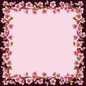 Floral frame with sakura blossom - japanese cherry tree — Stock Vector