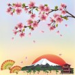 Stock Vector: Background with mountain and sakurblossom - Japanese cherry tr