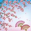decorative background with sakura - japanese cherry tree and fan — Stock Vector