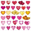 Big set of different hearts for Valentines Day, wedding, birthday — Stock Vector