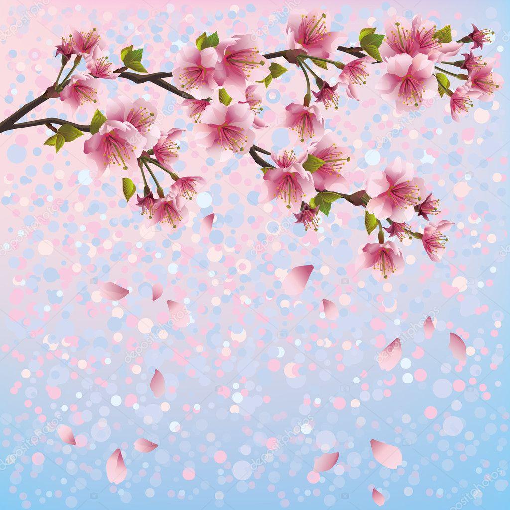 カラフルな春桜の花 - 日本の桜の木、招待状やグリーティング カードの背景。花の背景は、日本のスタイル。ベクトル イラスト — ストックベクター © silvionka #32473203