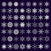 Big set of white snowflakes isolated — Vettoriale Stock