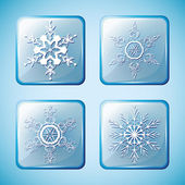 Set 2 of winter icons with snowflakes — Stock Vector