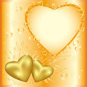 Festive greeting or invitation card with golden hearts — Vector de stock
