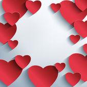 3d kırmızı kalpler ile şık yaratıcı arka plan — Stok Vektör