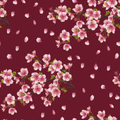 Seamless background texture with branch of cherry tree — Stock Vector