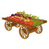 Wooden cart with harvest of vegetables — Stock Vector