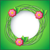 çiçek ve yaprak çerçeve çiçek — Stok Vektör