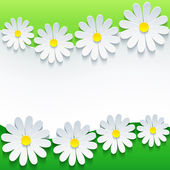 Stylish floral background, 3d flower chamomile — Stock Vector