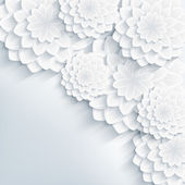 Floral stylish gray background with 3d flowers — Stok Vektör