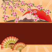 Background with fans, mountain and Japanese cherry tree sakura — Stock Vector
