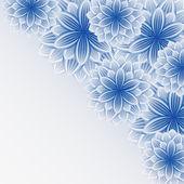 Piękne koronki niebiesko szary tło z kwiatami — Wektor stockowy