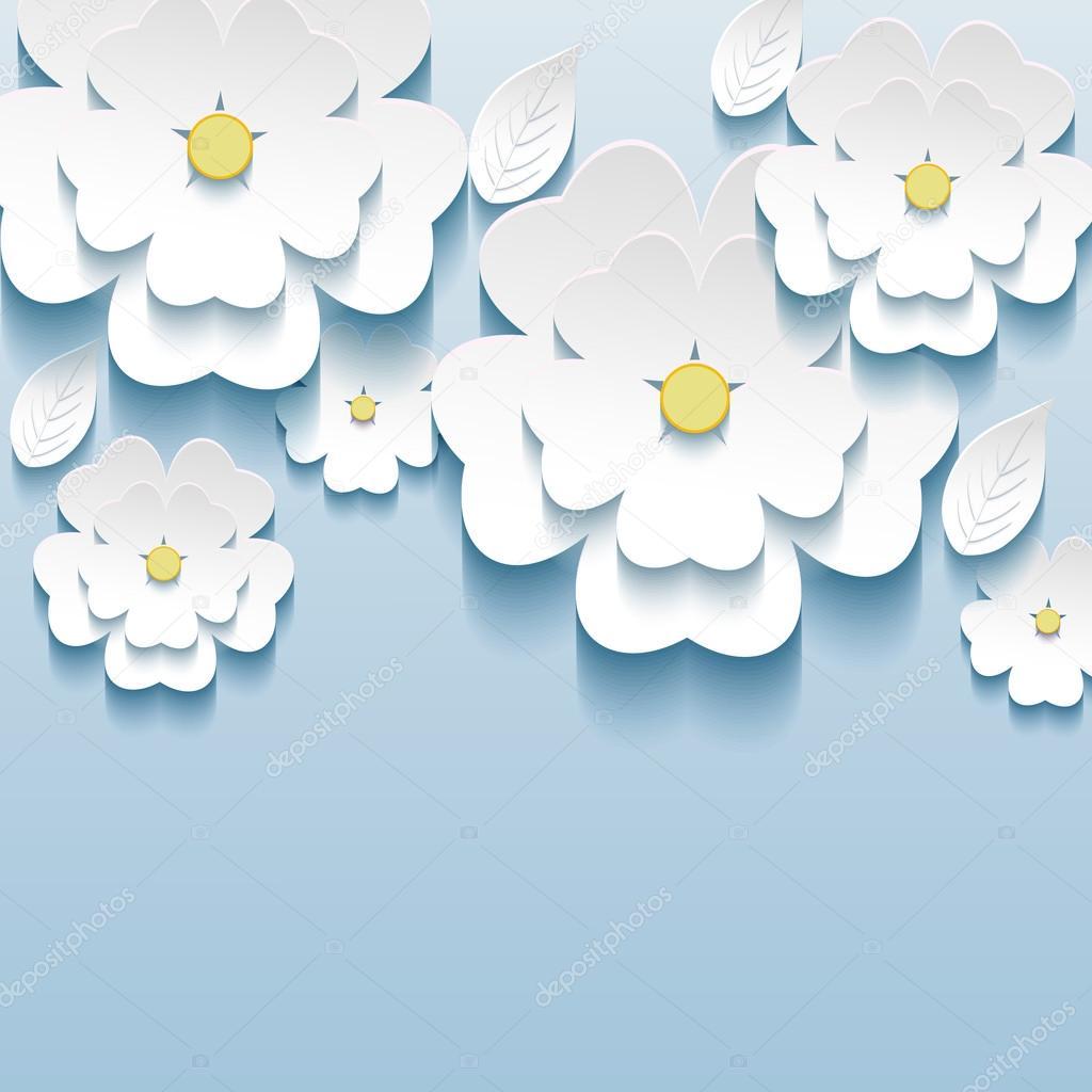 3d fiori sakura bianco alla moda bella carta da parati for Carta da parati 3d fiori