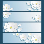 Set of banners with 3d stylized flowers sakura and leaves — Vecteur