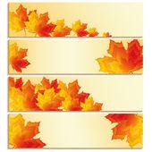 Набор баннеров с листьями, желтый, оранжевый, красный клен — Cтоковый вектор