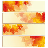 Set of horizontal banners with orange, red leaf maple — Stock Vector
