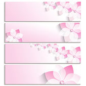 Set of banners with blossoming sakura pink — Stock Vector