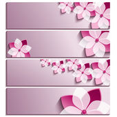 Set of horizontal banners purple with blossoming sakura — Stock Vector