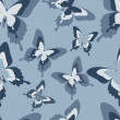 Seamless pattern with black, white and grey butterflies — Stock Vector #50324943