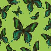 Modello senza soluzione di continuità con le farfalle verdi — Vettoriale Stock