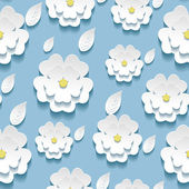 Seamless pattern with 3d white sakura — Stock Vector