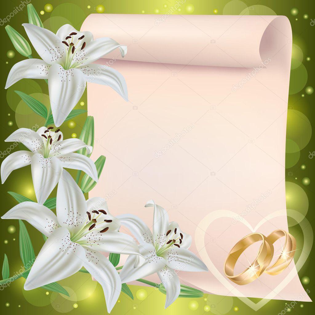 Convite de casamento ou cart o com flores alvas vetor de for Fond de page word gratuit