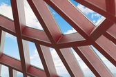 Blue sky view from textured glass ceiling inside — Stock Photo