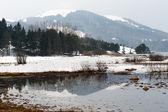 Snowy mountains reflection view of Abant lake Bolu Turkey — Stock Photo