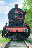 Front view of old fashioned steam locomotive — Stock Photo