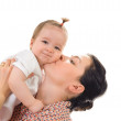 Isolated mother and cute daughter portrait on white background — Stock Photo
