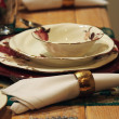 Christmas new year dinner table decoration — Stock Photo