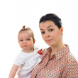 Isolated mother and daughter portrait on white background — Stock Photo