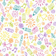Cheerful childlike seamless pattern — Stock Vector