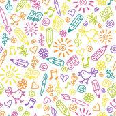 Cheerful childlike seamless pattern — Stock Vector