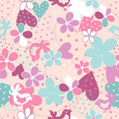 Fantasy floral seamless pattern — Stock Vector
