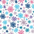 Stock Vector: Hand printed snowflakes seamless pattern