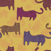 Patterned stylized cats seamless pattern — Stock Vector