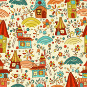 Sweet cartoon homes seamless pattern — Stock Vector