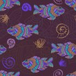Stylized fishes seamless pattern — Stock Vector