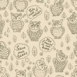 Cartoon owls seamless pattern — Stock Vector