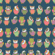 Amusing owls seamless pattern — Stock Vector