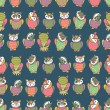Amusing owls seamless pattern — Stock Vector #24925355
