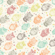 Various amusing owls seamless pattern — Stock Vector