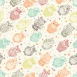 Various amusing owls seamless pattern — Stock Vector #24925361