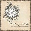 Antique clocks sketch — Stock Vector