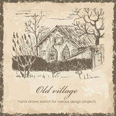 Old village sketch — Stock Vector