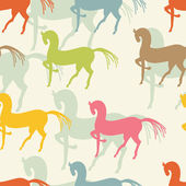 Motley horses seamless pattern — Stock Vector