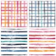 Collection of checkered and striped seamless patterns — Stock Vector